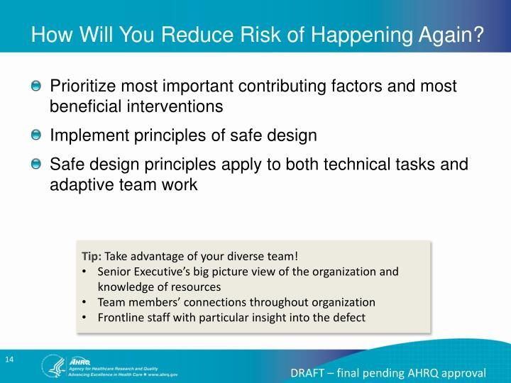 How Will You Reduce Risk of Happening Again?