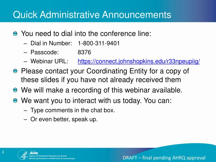 Quick Administrative Announcements