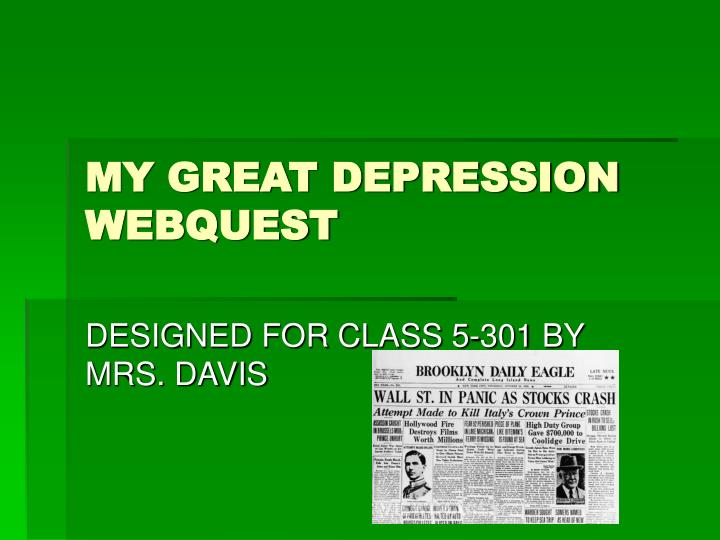 My great depression webquest