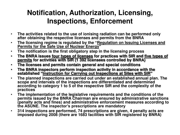 Notification, Authorization, Licensing,