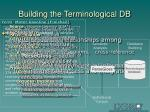building the terminological db