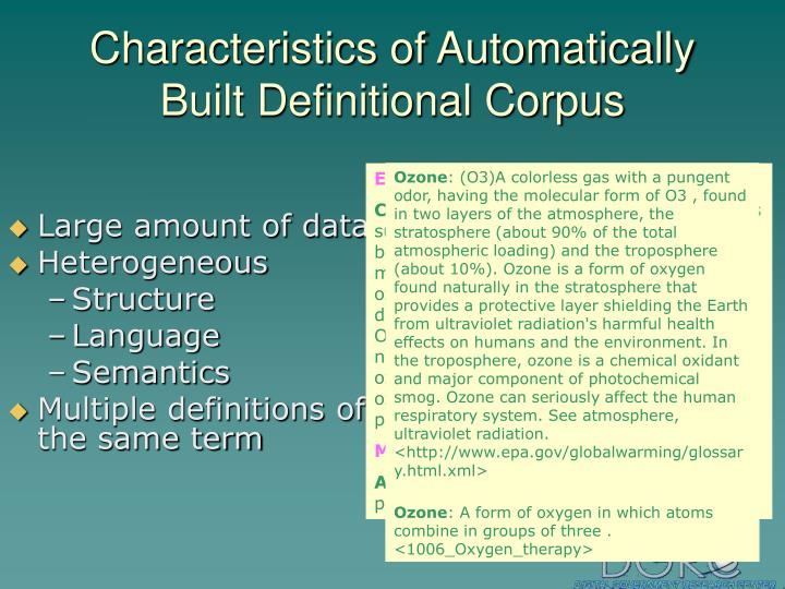 Characteristics of Automatically Built Definitional Corpus