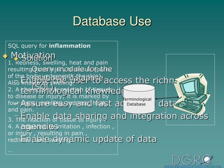 Database Use
