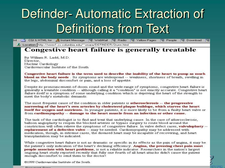 Definder- Automatic Extraction of Definitions from Text