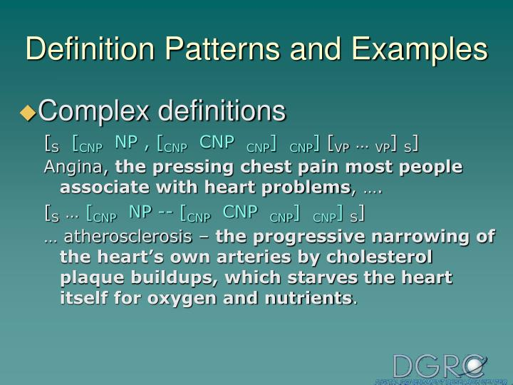 Definition Patterns and Examples