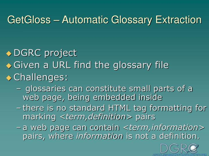 GetGloss – Automatic Glossary Extraction