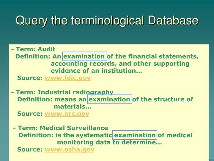 Query the terminological Database