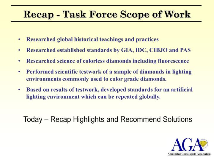 Recap - Task Force Scope of Work