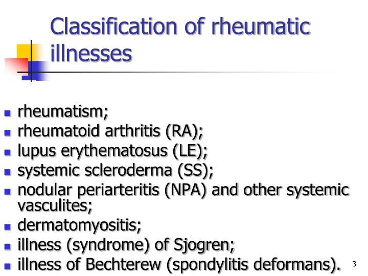 Classification of rheumatic illnesses