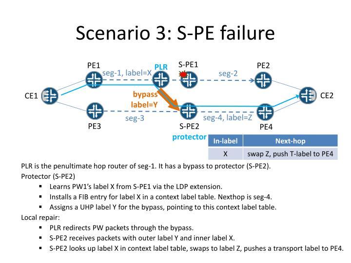 Scenario 3: S-PE failure