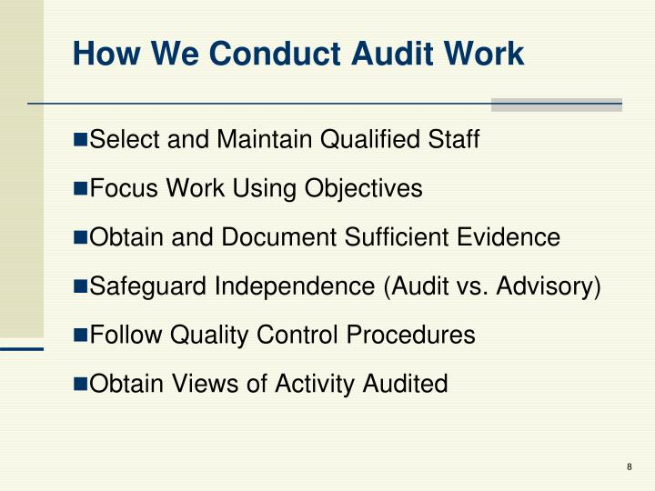How We Conduct Audit Work