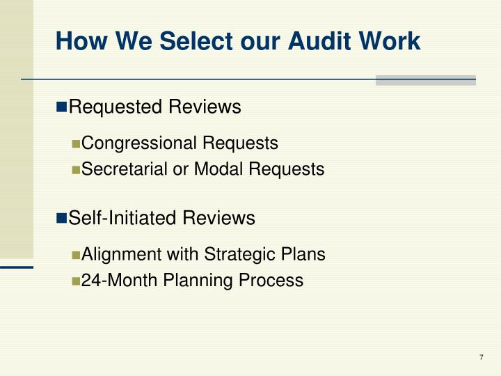 How We Select our Audit Work