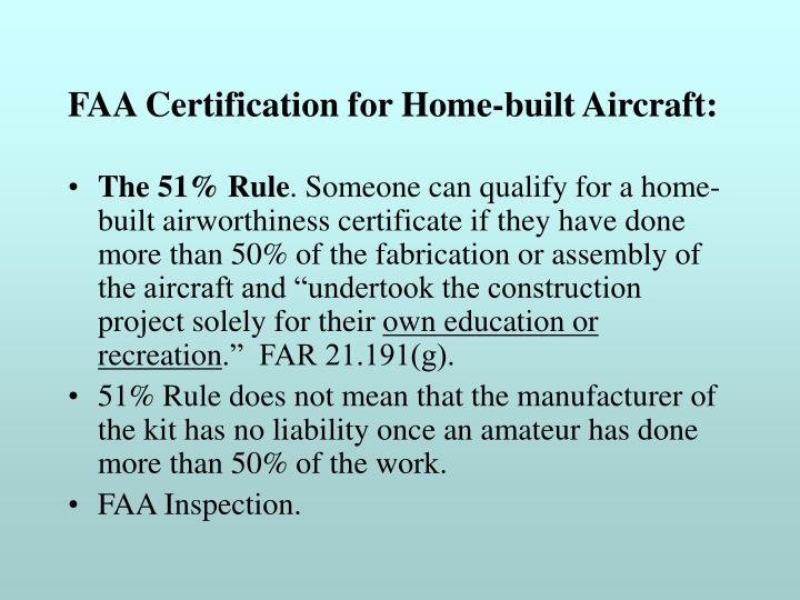 FAA Certification for Home-built Aircraft: