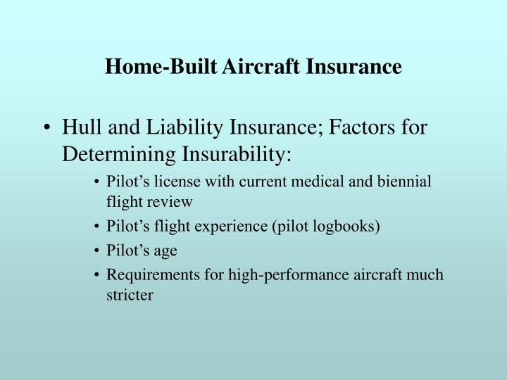 Home-Built Aircraft Insurance