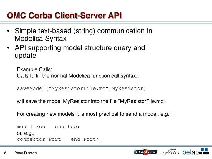 OMC Corba Client-Server API
