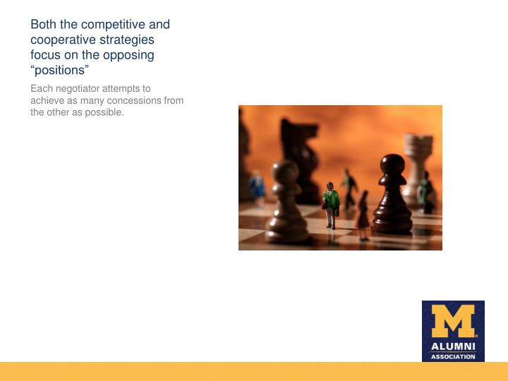 "Both the competitive and cooperative strategies focus on the opposing ""positions"""