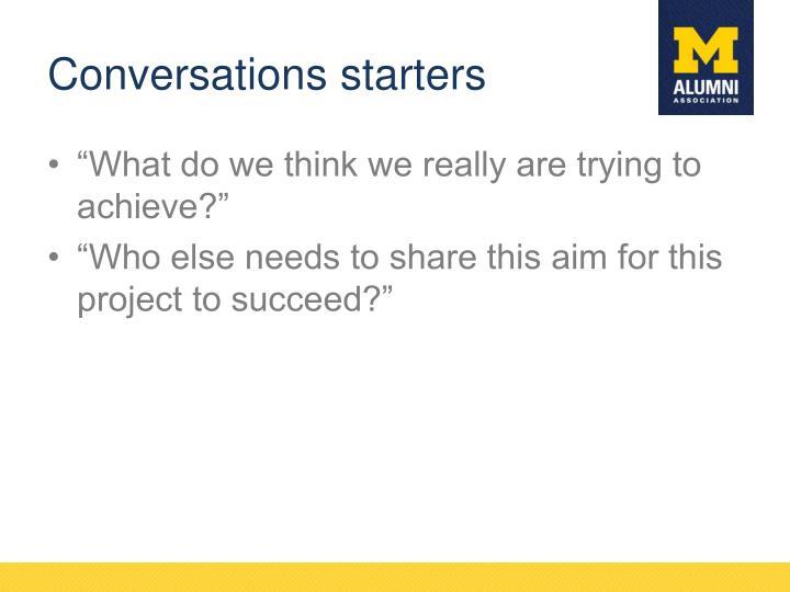 Conversations starters