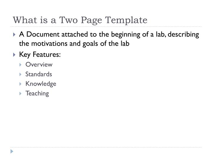What is a Two Page Template