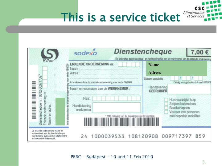 This is a service ticket