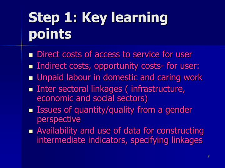 Step 1: Key learning points