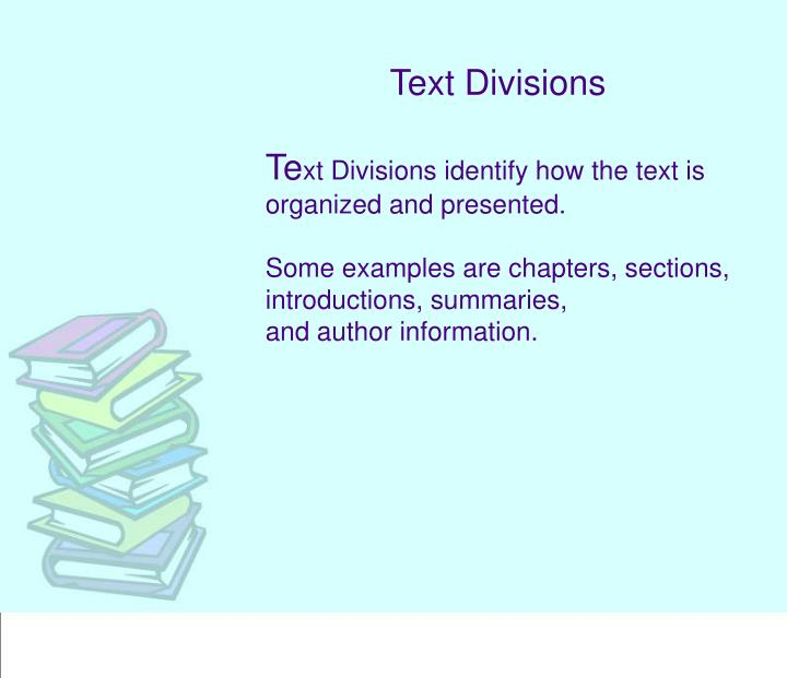 Text Divisions