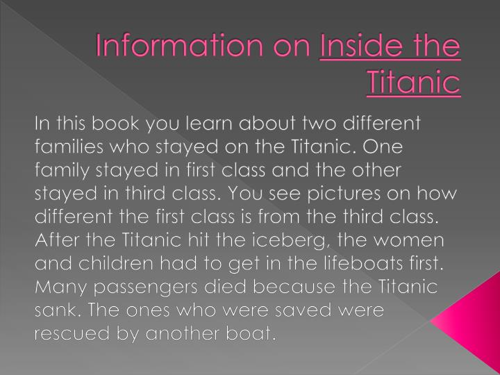 Information on inside the titanic