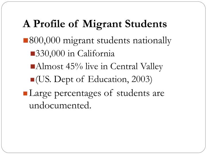A Profile of Migrant Students