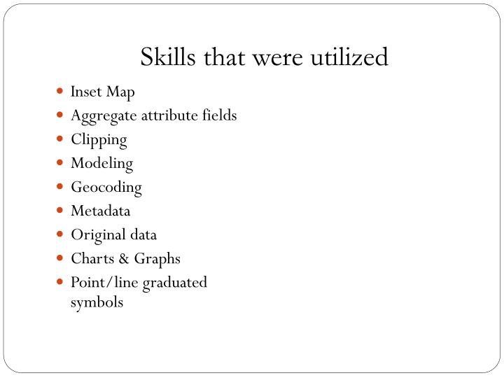 Skills that were utilized