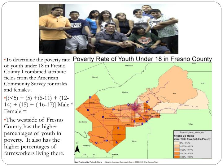 To determine the poverty rate of youth under 18 in Fresno County I combined attribute fields from the American Community Survey for males and females .