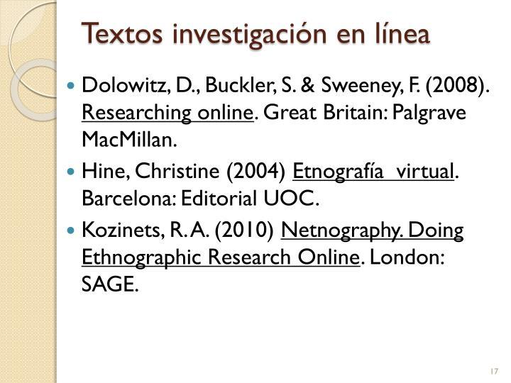 Textos investigación en línea