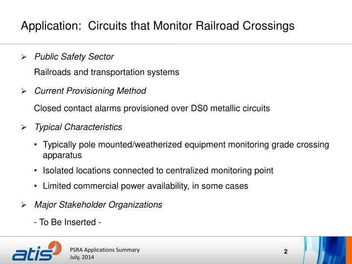 Application circuits that monitor railroad crossings