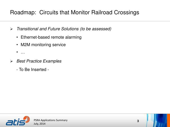 Roadmap:  Circuits that Monitor Railroad Crossings