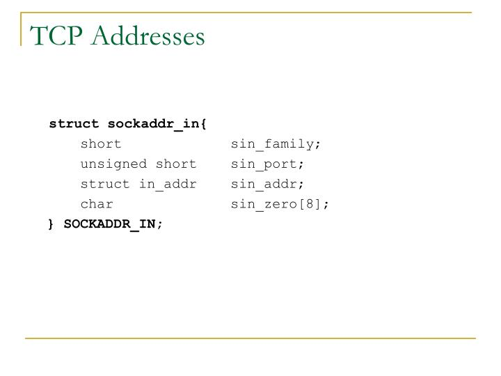 TCP Addresses