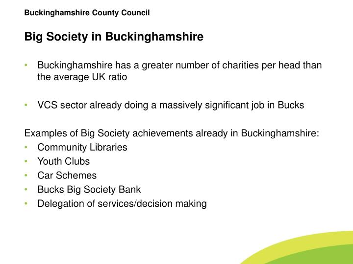Big society in buckinghamshire