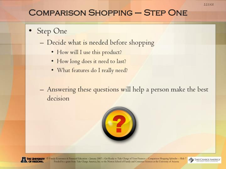 Comparison Shopping – Step One