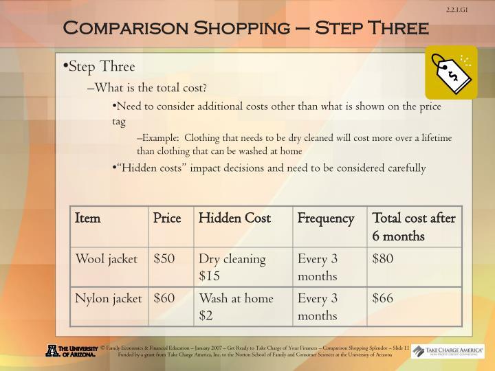 Comparison Shopping – Step Three