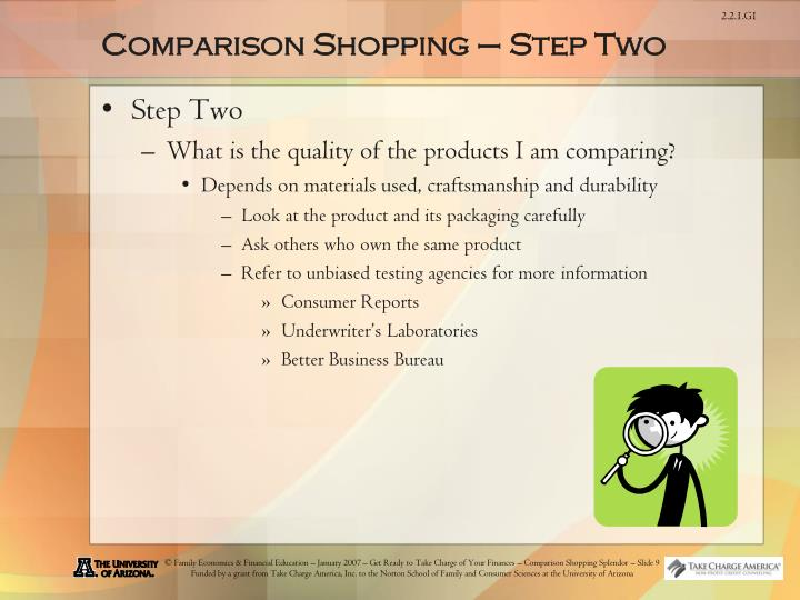 Comparison Shopping – Step Two