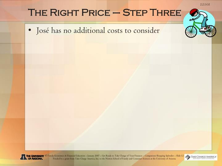 The Right Price – Step Three