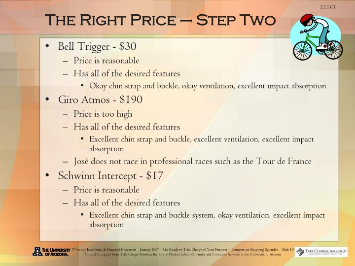 The Right Price – Step Two