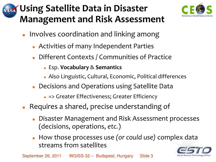Using satellite data in disaster management and risk assessment1