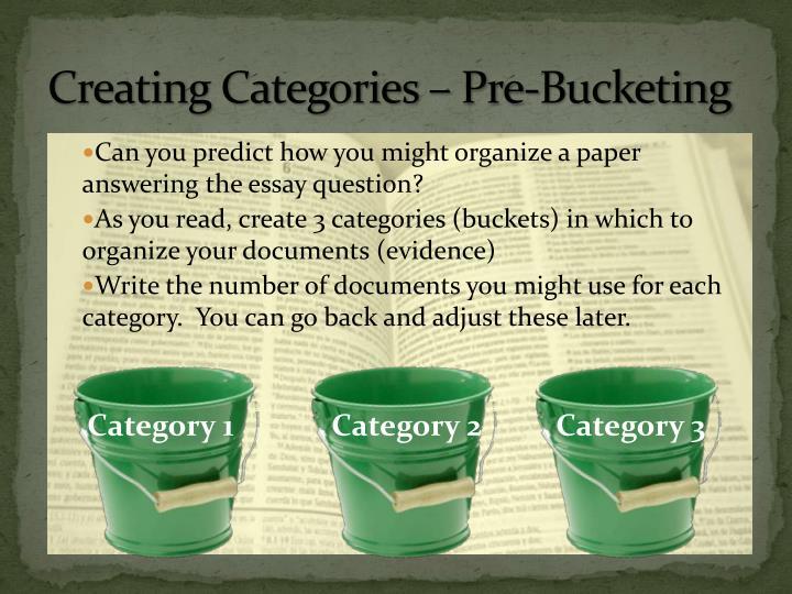 Creating Categories – Pre-Bucketing