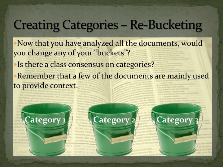 Creating Categories – Re-Bucketing