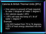 calories british thermal units btu