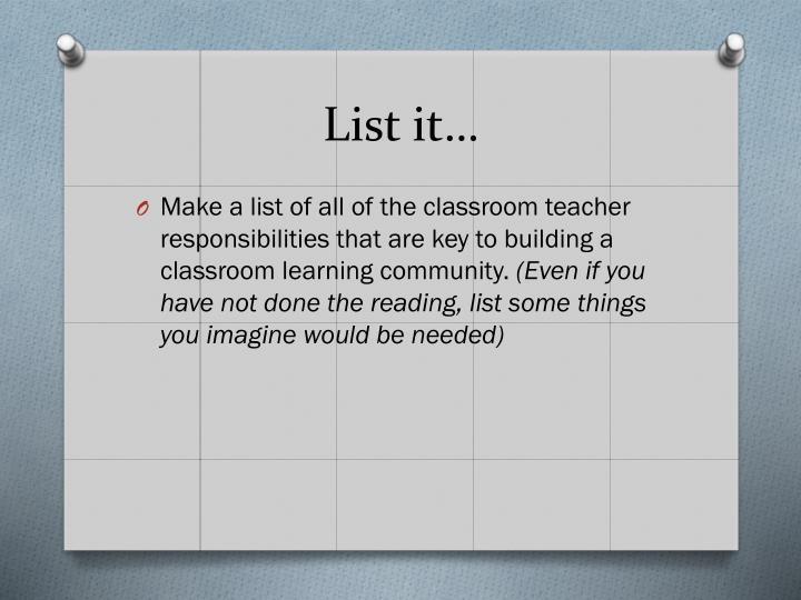 List it…