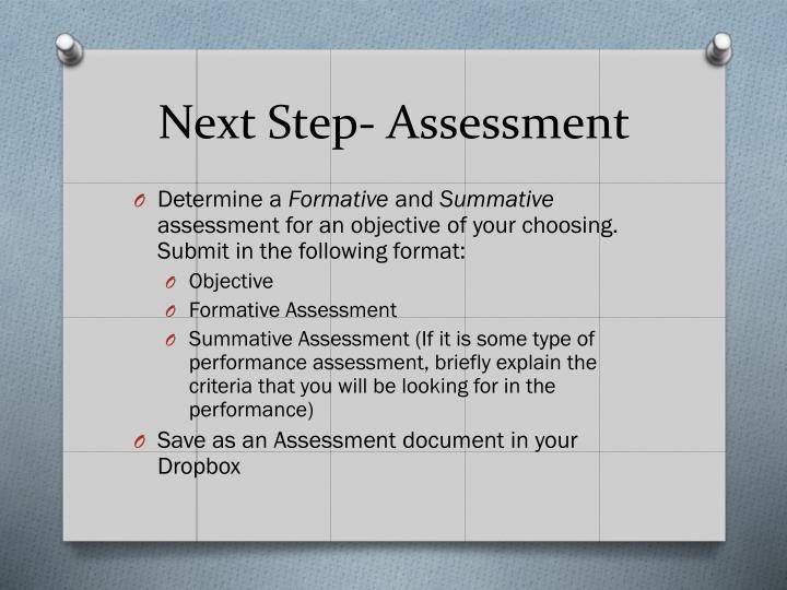 Next Step- Assessment
