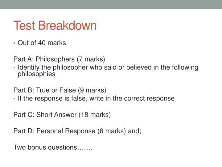 Test Breakdown
