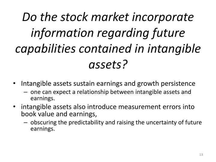 Do the stock market incorporate information regarding future capabilities contained in intangible assets?