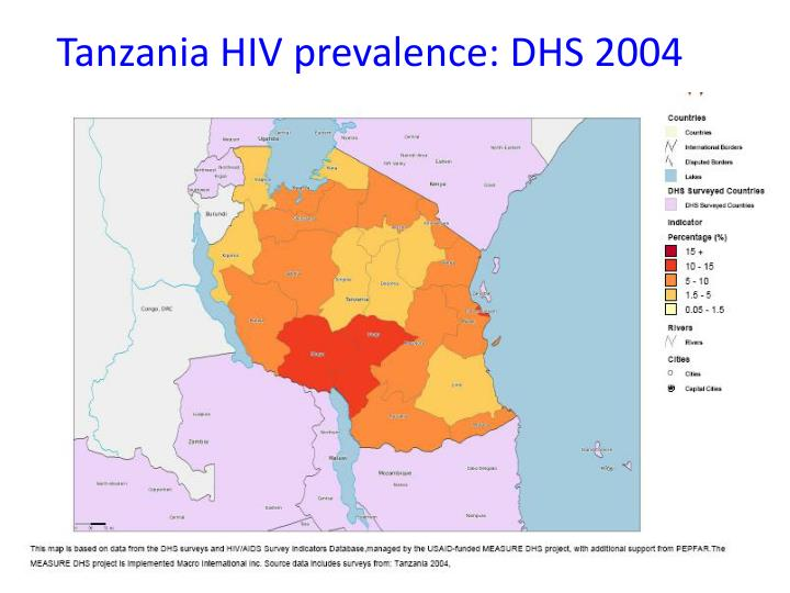 Tanzania HIV prevalence: DHS 2004