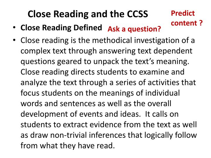 Close Reading and the CCSS