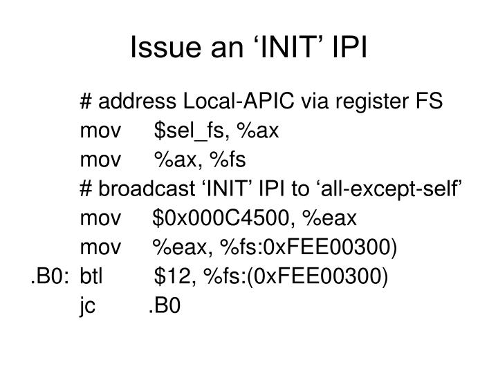 Issue an 'INIT' IPI
